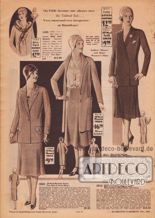 """""""Auf der Fifth Avenue sieht man immer das Schneiderkostüm… sehr schick und preiswert bei Hamilton Garment!"""" (engl. """"On Fifth Avenue one always sees the Tailored Suit… Very smart and very inexpensive at Hamiltons!""""). Das Damenkostüm links ist aus Woll-Tweed gefertigt und zeigt eine Kostümjacke, die auf einen Knopf schließt. Jacke mit eingelassenen Taschen, interessanten Taschenpatten sowie mit kleiner Ansteckblüte und glockig gearbeitetem Rock. In der Mitte folgt ein Ensemble aus herrenmäßigem Woll-Tweed. Der Mantel mit seitlicher Tasche schließt auf zwei Knöpfen und ist mit schimmerndem Krepp gefüttert, aus dem auch die Bluse hergestellt ist. Bluse mit Haarbiesen, Blende, Schluppe und Schleife. Rechts ein Schneiderkostüm aus herrenmäßigem Anzugstoff (Wolle) mit doppelreihiger Jacke. Zwei eingelassene Taschen mit Patten sowie eine Brusttasche für ein Stecktuch. Jacquard dient als Futterstoff für die Kostümjacke. Oben links ein schmales Pelzkollier (Pelzschal) aus auf Nerz gefärbtem Murmeltier."""
