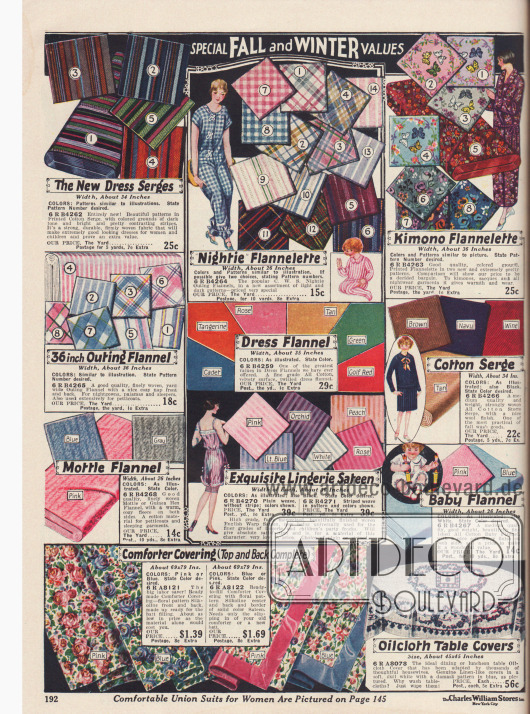 Stoffe für Kleider, Unterwäsche, Kimonos oder Schlafanzüge wie Baumwoll-Serge, Flanell und Satin. Unten im Bild befinden sich Stoffe für Tischdecken mit reichen Blumendekors.