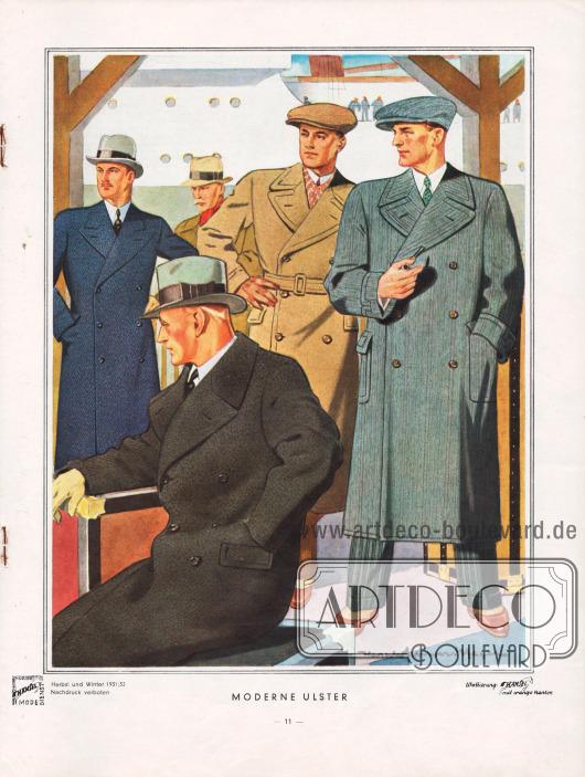 """""""Moderne Ulster"""". Charakteristisch für den Ulstermantel ist der weite und bequeme Schnitt sowie die breiten Klappen und breiten Kragen. Ulstermäntel zeigen derzeit fast ausschließlich die zweireihige Form. Auch für Ulster sind die lebhaften Musterungen weggefallen und nur dezente Dessins werden noch verwendet. Blau, Grau, Beige und Marengo (schwarz mit etwas Weiß meliertem Stoff) sind die Standardfarben. Zeichnung/Illustration: Harald Schwerdtfeger (1888-1956)."""