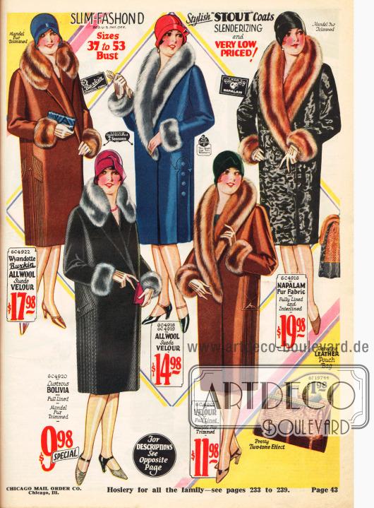 """""""Verschlankende"""" Mäntel für die kräftig gebaute Dame."""