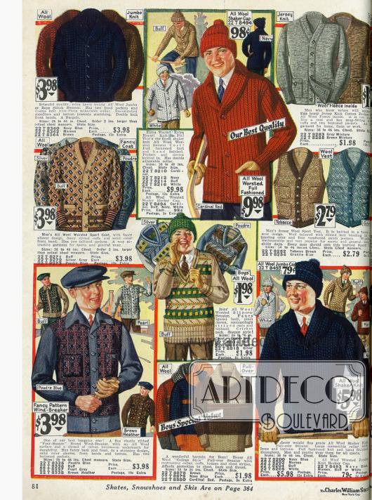 Doppelseite mit warmen Strickpullovern, Westen und Jacken für den Wintersport für Männer und Jungen in verschiedensten Farben und Ausführungen.
