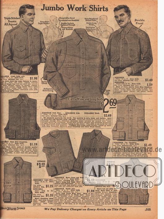 Arbeitshemden mit Dreifachnähten und verstärkter Verarbeitung aus Khakistoff oder blauem Chambray. Doppelt vernähte, aufgesetzte Taschen oder doppelte Schulterpassen geben den Hemden Praktikabilität und dauerhafte Haltbarkeit.
