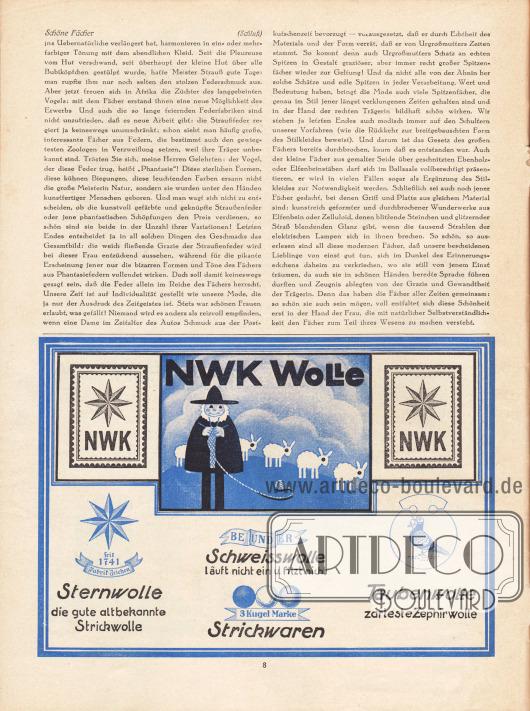Artikel: Dahl, Annie, Schöne Fächer. Werbung: NWK Wolle, Nähgarn.
