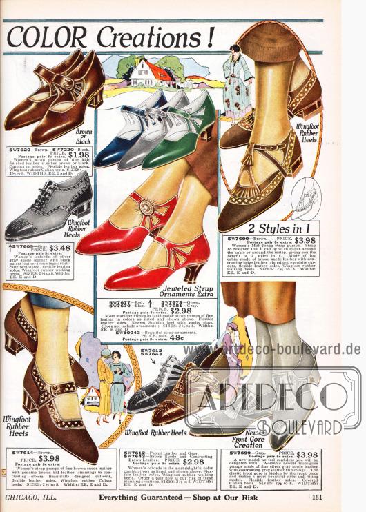 Doppelseite mit Damenpumps, Schnallenschuhen und Oxfords aus Leder in bunten Farben, bei denen mit teilweise mit starken Kontrasten gearbeitet wird. Die Absätze sind niedrig und das Leder zeigt ornamentale und flächige Ausstanzungen und Perforationen. Spitze Kappen sind noch modern.