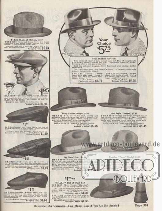 """Hüte für mode- und stilbewusste Männer. Fedora und Homburg Hüte aus Filz mit breiter Falte quer über den Hutkopf sowie mit Ripsband und Schleife, flotte Hüte im neuen """"Trooper""""-Stil, sportliche Hüte aus weichem Filz, die leicht eingerollt werden können sowie Golfmützen bzw. Schiebermützen aus merzerisiertem Baumwoll-Popeline, Cheviot-Wolle oder Woll-Serge. Unten rechts wird ein heller Hut im Western Stil mit geprägtem Lederband angeboten."""
