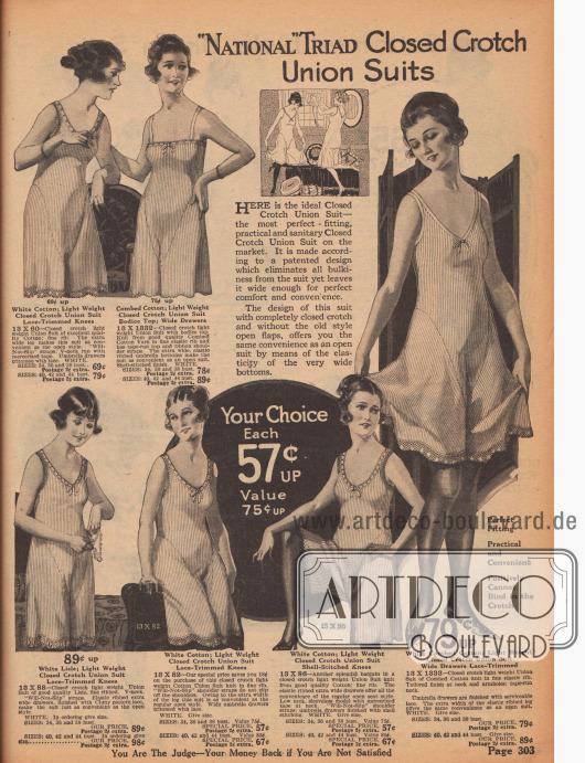 """""""'National' Triad Hemdhöschen mit geschlossenem Schritt"""" (engl. """"'National' Triad Closed Crotch Union Suits""""). Damenunterwäsche. Einteilige Hemdhöschen mit praktischen, angeschnittenen und geschlossenen Beinen aus gekämmten Baumwollgarnen in Rippwebung mit rutschsicheren Schulterträgern. Die Modelle zeigen teilweise einen schmalen Spitzenrand an Ausschnitt, Armlöchern oder am Saum sowie zierliche Schleifchen am Ausschnitt."""