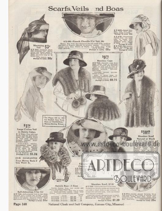 Schals und Capes aus Marabufedern, Trauerschleier, Schleier für Hüte und Boas aus Straußenfedern. Oben rechts ein Hut für Automobilfahrten.