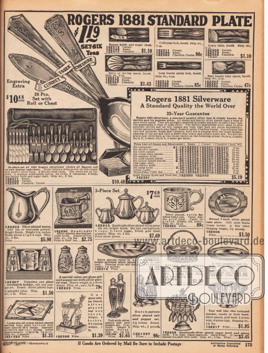 Oben wird Silberbesteck der Marke Rogers 1881 offeriert. Zum Essbesteck mit 25 Jahren Garantie gehören jeweils sechs Teelöffel, sechs Nachtischlöffel, sechs Esslöffel, sechs mittelgroße Gabeln, sechs Messer, sechs Messer mit Hohlgriff, ein Zuckerlöffel, ein Buttermesser, sechs Salatgabeln, eine Suppenkelle und ein dreiteiliges Besteck für Kinder. Die Besteckteile sind auch frei zusammenstellbar. Unten befinden sich weitere Silberwaren wie eine Silberkanne, Pfeffer- und Salzstreuer, Silberplatten, eine Tasse für Kleinkinder, ein Serviertablett, ein Marmeladenglas, Schalen und eine üppig ornamentierte Zuckerdose mit Halterung für mehrere Teelöffel.