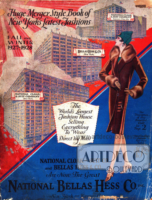 Cover des ersten Herbst/Winter Versandhauskatalogs der neugegründeten Firma National Bellas Hess Inc. von 1927. Es ist der erste Katalog der Firma National Bellas Hess nach der Fusion der Firmen Bellas Hess und National Cloak & Suit Co.