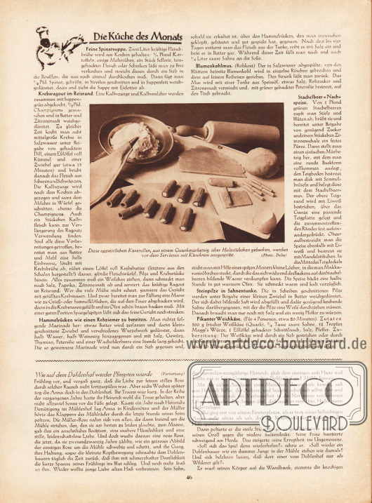 """Artikel: O. V., Die Küche des Monats (Feine Spinatsuppe, Krebsragout im Reisrand, Hammelrücken wie einen Rehziemer zu bereiten, Blumenkohlmus [Rohkost], Stachelbeer-Nachspeise, Steinpilze in Sahnentunke, Pikanter Weichkäse). Lischka, Fritz, Wie auf dem Dohlenhof wieder Pfingsten wurde. Novelle von Fritz Lischka. Eine Fotografie ist im Zentrum des ersten Artikels zu sehen mit der Bildunterschrift """"Diese appetitlichen Käserollen, aus einem Quarkmürbeteig über Holzstäbchen gebacken, werden vor dem Servieren mit Käsekrem ausgespritzt"""". Foto: Delia."""