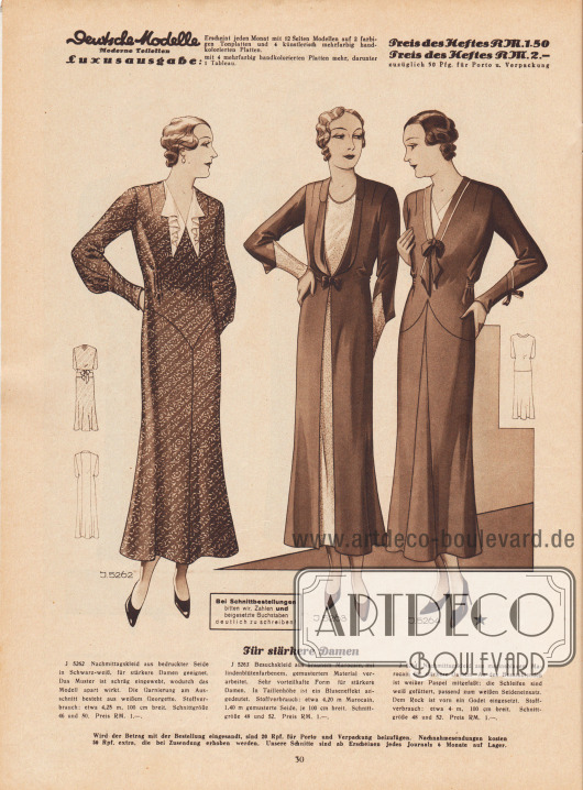 """""""Für stärkere Damen."""" 5262: Nachmittagskleid aus bedruckter Seide in Schwarz-Weiß, für stärkere Damen geeignet. Das Muster ist schräg eingewebt, wodurch das Modell apart wirkt. Die Garnierung am Ausschnitt besteht aus weißem Georgette. 5263: Besuchskleid aus braunem Marocain, mit lindenblütenfarbenem, gemustertem Material verarbeitet. Sehr vorteilhafte Form für stärkere Damen. In Taillenhöhe ist ein Bluseneffekt angedeutet. 5264: Nachmittagskleid aus marineblauem Marocain für stärkere Damen. An den Besatzblenden ist weißer Paspel mitgefaßt; die Schleifen sind weiß gefüttert, passend zum weißen Seideneinsatz. Dem Rock ist vorn ein Godet eingesetzt."""