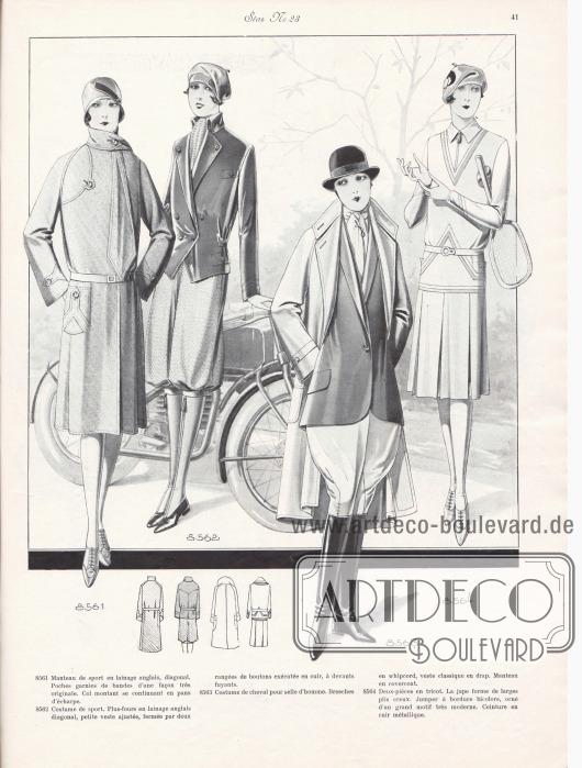 8561: Manteau de sport en lainage anglais, diagonal. Poches garnies de bandes d'une façon très originale. Col montant se continuant en pans d'écharpe. 8562: Costume de sport. Plus-fours en lainage anglais diagonal, petite veste ajustée, fermée par deux rangées de boutons exécutée en cuir, à devants fuyants. 8563: Costume de cheval pour selle d'homme. Breeches en whipcord, veste classique en drap. Manteau en covercoat. 8564: Deux-pièces en tricot. La jupe forme de larges plis creux. Jumper à bordure bicolore, orné d'un grand motif très moderne. Ceinture en cuir métallique.