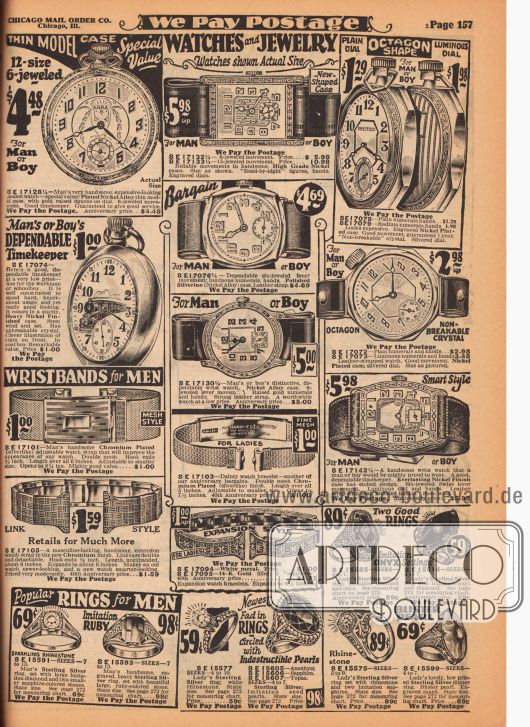 Taschenuhren, Armbanduhren und Ringe für Männer und Jungen sowie unten mittig auch Armbänder und Ringe für Frauen. Die Gehäuse der Uhren sind aus Nickel oder aus Nickellegierungen, die Armbänder aus Leder. Die Ringe sind aus Sterling Silber die des Weiteren mit künstlichen Onyxen, Rubinen, Amethysten oder Topasen und Perlen besetzt sind.